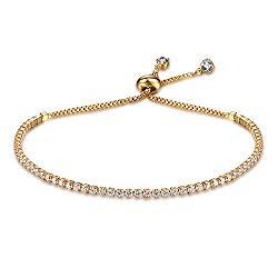 Women's Slider Tennis Bracelet Bangles Round Cut Cubic Zirconia Adjustable 2mm Link Bracelet For Girls