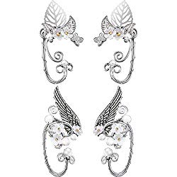 2 Pairs Chic Elf Ear Cuffs Pearl Wing Handcraft for Cosplay Elven Cuff Wrap Earrings for Elven Halloween Costume, Cosplay, Wedding