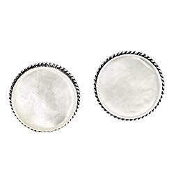 Classic 16 mm Round White Mother of Pearl Button .925 Sterling Silver Clip On Earrings