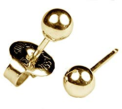 """Ear Piercing Earrings Gold 4mm Round Ball Studs""""Studex System 75″ Hypo"""