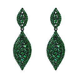 Flyonce Women's Crystal Wedding Bridal Charm 2 Leaf Drop Clip On Dangle Earrings