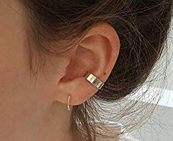 GOLD XIONG PADISHAN S925 Sterling Silver Threader Earrings & Ear Cuff Double line no Piercing Earrings Set Fake Piercing Connected Chain Sister