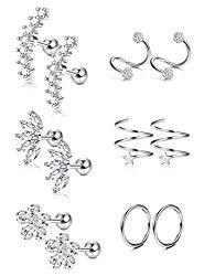 Hanpabum 16G 6 Pairs Stainless Steel EarCartilageEarrings for Women Girls Hypoallergenic Stud Earrings Ear Crawler Cuff Earring, 4mm~8mm