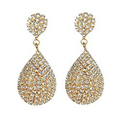 Les Bohémiens Clip-On and Pierced Rhinestone Crystals Teardrop Earrings Dangle Earrings Statement Chandelier Drop Earrings for Women