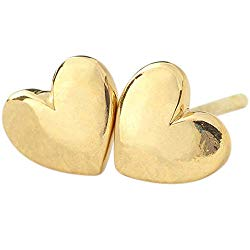 Lifetime Jewelry Heart Stud Earrings – Safe for Most Sensitive Ears – Hypoallergenic – up to 20X More 24k Gold Plating Than Other Studs – Free Lifetime Replacement Guarantee – Made in USA