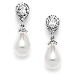 Mariell Glass Pearl Drop Clip On Earrings with Pear-Shaped CZ Halos for Wedding, Bridal, Formal & Fashion