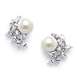 Mariell Ivory Pearls & CZ Cluster Clip On Wedding Earrings for Brides, Bridesmaids & Mother of the Bride