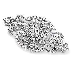 Mariell Vintage Bridal Crystal Brooch Pin – 4″ Wide Antique Silver Rhinestone Wedding & Fashion Glam