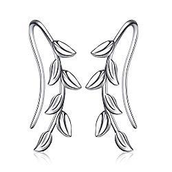 POPLYKE Ear Climber Crawler Cuff Sterling Silver Leaf Earrings for Women Girls,Wrap Earrings Hypoallergenic