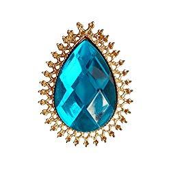 RareLove Vintage Blue Rhinestone Alloy Metal Teardrop Brooch For Women