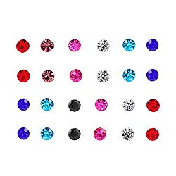 Spiritlele 12 Pairs Colors Crystal Leopard Flower Face Magnetic Clip Non Piercing Earrings Set