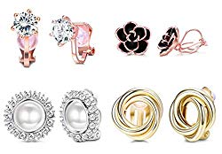 YADOCA 4 Pairs Clip Earrings for Women Fashion Rose Flower CZ Pearl Twist Knot Hypoallergenic Non Pierced Clip On Earrings