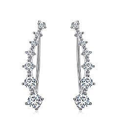 Yolmina Ear Cuff Climber Earrings 7 CZ Cubic Zirconia Crawler Earrings S925 Sterling Silver Hypoallergenic Earring with Gift Box