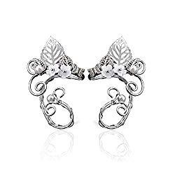 Yolmina Elf Ear Cuffs, Handmade Clip on Earrings – Pearl Wing Tassel Filigree Elven Earrings for Women – Fantasy Fairy Halloween Costume, Cosplay, Wedding, Handcraft