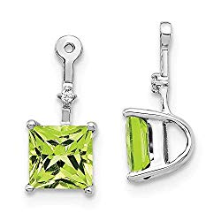 14k White Gold Diamond Square Green Peridot Ear Jacket Jackets For Studs Fine Jewelry Gifts For Women For Her