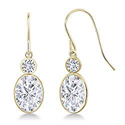 14K Yellow Gold Dangle Lab Grown Diamond Earrings Forever Classic Oval 3.00ct (DEW) Created Moissanite by Charles & Colvard