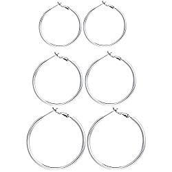3 Pairs Sterling Silver Hoop Earrings – 14k White Gold Plated Hoop Earrings Big Hoop Earrings Set Silver Hoop Earrings for Women Girls (40MM 50MM 60MM) …