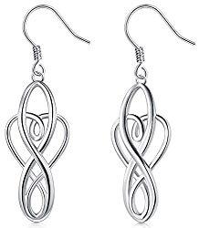 925 Sterling Silver Earrings, BoRuo Celtic Knot Dangle Earrings Good Luck Irish Celtic Knot Vintage Dangles for Women,Girls Teardrop Earrings