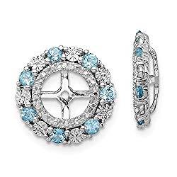 925 Sterling Silver Swiss Blue Topaz Earrings Jacket Birthstone December Fine Jewelry Gifts For Women For Her