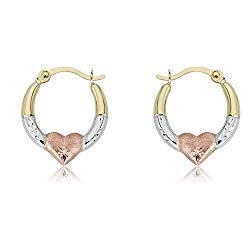 AVORA Gold Heart Creole Hoop Earrings – 10K 3-Tone or 14K/10K Yellow Gold