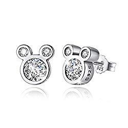 BAMOER Mouse Stud Earrings Sterling Silver Birthstone Earrings Stud for Women Girl Birthday Gift
