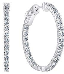 Beverly Hills Jewelers 1.00 Carat Diamond Hoop Earrings for Women – 14 Karat White Gold Hoop Earrings – Elegantly Crafted and Real Natural G-H Color White Diamond Hoop Earrings with Super Secure Lock