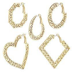 Cuicanstar Hoop Earrings – Stainless Steel Hypoallergenic Dainty Sculpture Geometric Filigree Huggie Hoop Loop Earrings for Women Girls Set.