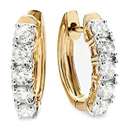 Dazzlingrock Collection 1.00 Carat (ctw) 18K Ladies Huggies Hoop Earrings 1 CT, Yellow Gold