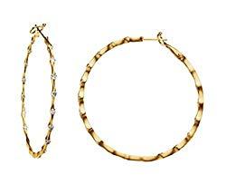 Diamond Inside-Outside Hoop Earrings, 18k Yellow Gold