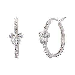 Disney Mickey Mouse Jewelry for Women, Sterling Silver Mickey Mouse Cubic Zirconia Hoop Earrings;