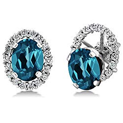 Gem Stone King 3.12 Ct Oval London Blue Topaz 925 Sterling Silver Stud Earrings with Removable Jackets