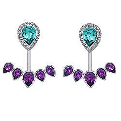 J'ADMIRE Swarovski Crystal Pear Purple 2-Way Jacket Earrings, Platinum Plated Sterling Silver