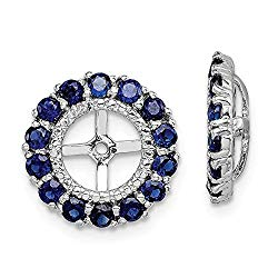 Mia Diamonds 925 Sterling Silver (.008cttw) Diamond and Simulated Sapphire Earring Jacket (13mm x 13mm)