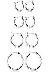 ORAZIO 4 Pairs Stainless Steel Hoop Earrings Set Cute Huggie Earrings for Women,10MM-20MM