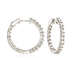 Ross-Simons 2.00 ct. t.w. Diamond Inside-Outside Hoop Earrings in Sterling Silver