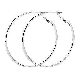 Rugewelry 925 Sterling Silver Hoop Earrings,18K Gold Plated Polished Round Hoop Earrings For Women,Girls' Gifts
