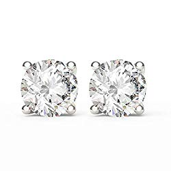 SGL Certified 14K White Gold 2 Cttw Round Diamond Screw Back Stud Earrings (G-H Color, I1-I2 Clarity)