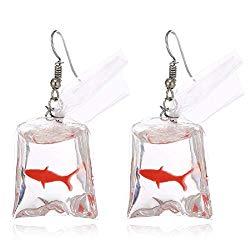 TOKO Funny Acrylic Gold Fish Pocket Dangle Earrings Goldfish Earrings Girls Women – Red