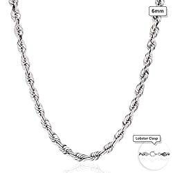 10K Solid White Gold 6mm Diamond Cut Rope Chain Necklace 22″-28″