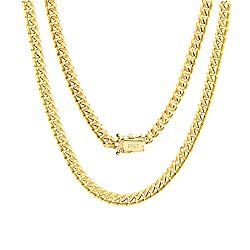 10K Yellow Gold Solid 5mm Miami Cuban Chain Pendant Necklace, 18″- 30″