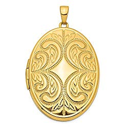 14k Yellow Gold 38mm Large Oval Family Locket Pendant Charm Necklace Fine Jewelry For Women Valentines Day Gifts For Her