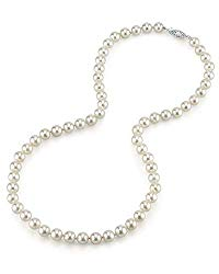 6.5-7.0mm White Japanese Akoya Saltwater Cultured Pearl Necklace with 14K Gold in AAA Quality – THE PEARL SOURCE