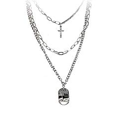 7th Moon Lock Pendant Necklace Statement Long Chain Punk Multilayer Choker Necklace for Women Girls (Punk Layered Silver)