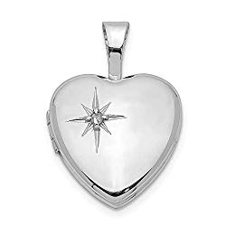 925 Sterling Silver Diamond 12mm Heart Photo Pendant Charm Locket Chain Necklace That Holds Pictures Fine Jewelry For Women Valentines Day Gifts For Her