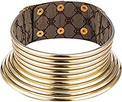Aijian African Jewelry Statement Chokers Egypt Gold Tone Choker Chunky Leather Collar Necklace/African Choker Punk Necklace Gothic