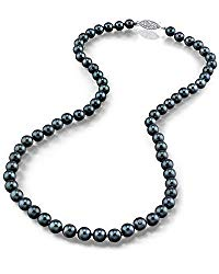 Black Akoya Saltwater Cultured Pearl Necklace for Women in 18 Inch Length with 14K Gold and AAA Quality – THE PEARL SOURCE