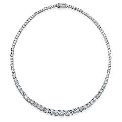 Bling Jewelry Bridal Cubic Zirconia Graduate Round Solitaire Statement AAA CZ Tennis Necklace for Women for Prom Silver Plated Brass