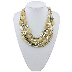 Bocar Multi Layer 5 Strand Statement Collar Beaded Necklace for Women Gift