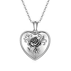 Cuoka Heart Locket Necklace Locket Necklace That Holds Pictures 925 Sterling Silver Rose Flower Photo Necklace Picture Locket Necklace for Women
