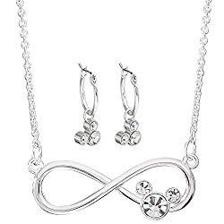 Disney Mickey Mouse Silver Plated Infinity Necklace and Hoop Earring Set; Jewelry for Women